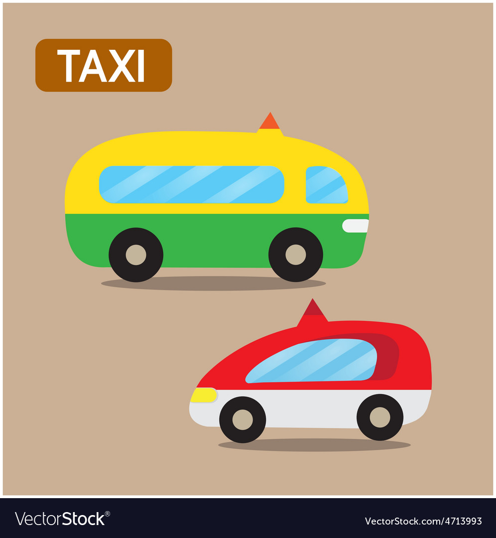 Taxi cartoon design vector | Price: 1 Credit (USD $1)