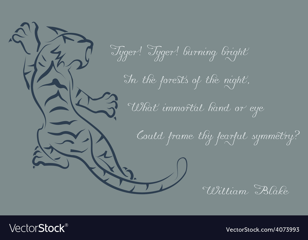 Tiger poems of william blake color card vector | Price: 1 Credit (USD $1)