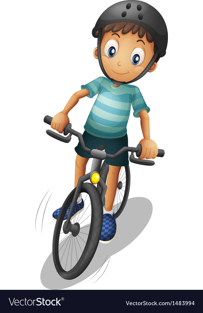 A boy biking wearing a helmet vector | Price: 1 Credit (USD $1)