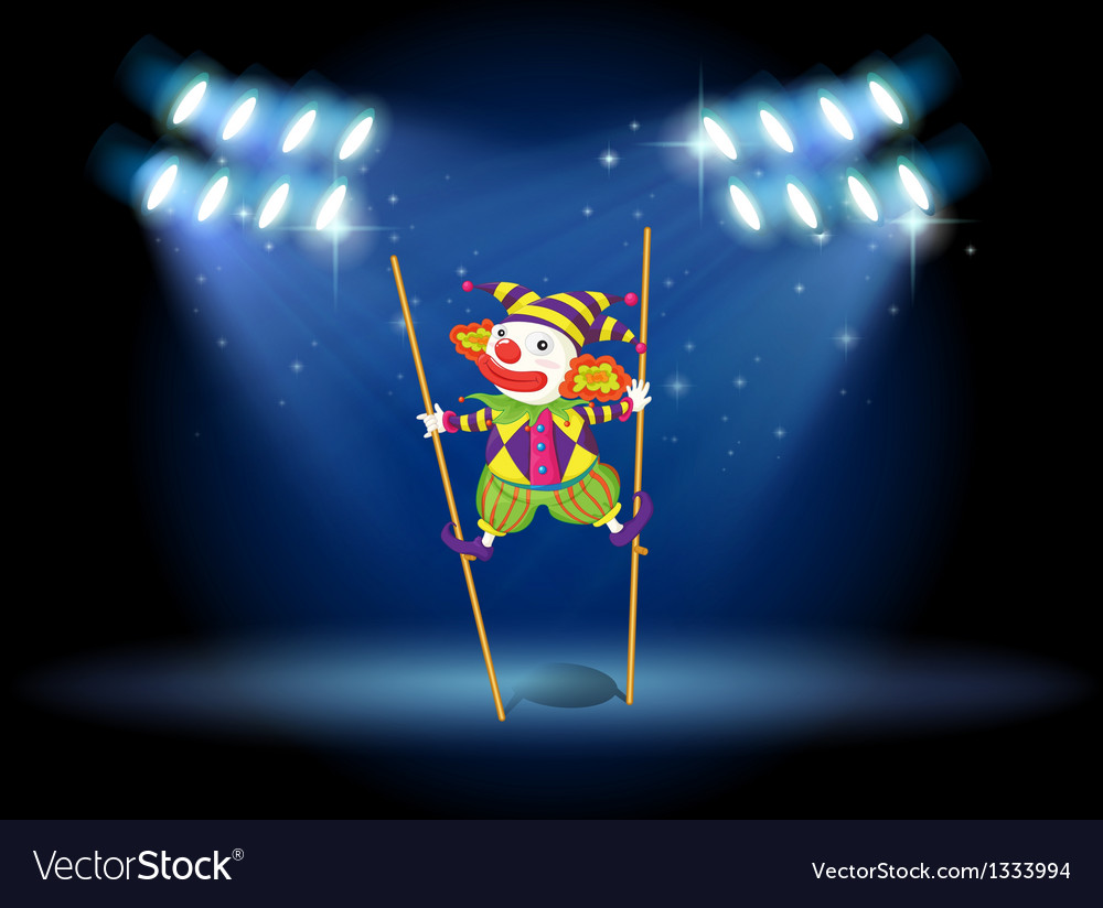 A clown doing a trick at the stage vector | Price: 1 Credit (USD $1)