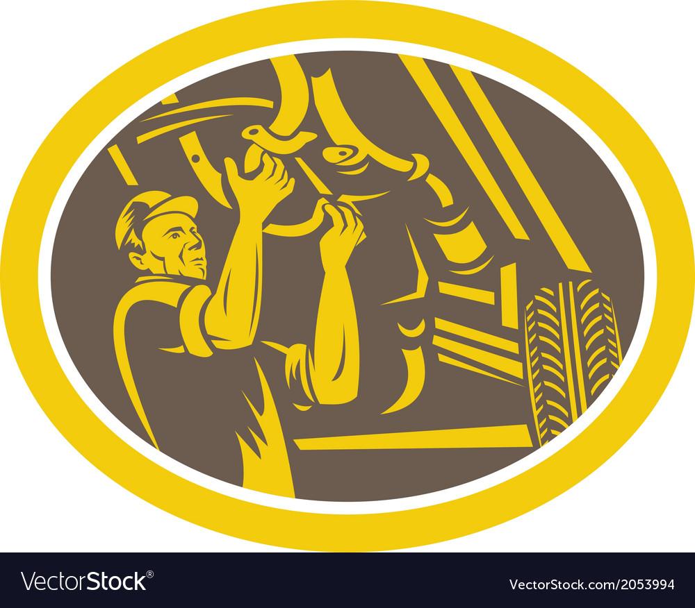 Auto mechanic car repair under chassis retro vector | Price: 1 Credit (USD $1)