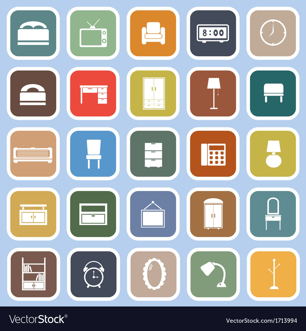 Bedroom flat icons on blue background vector | Price: 1 Credit (USD $1)