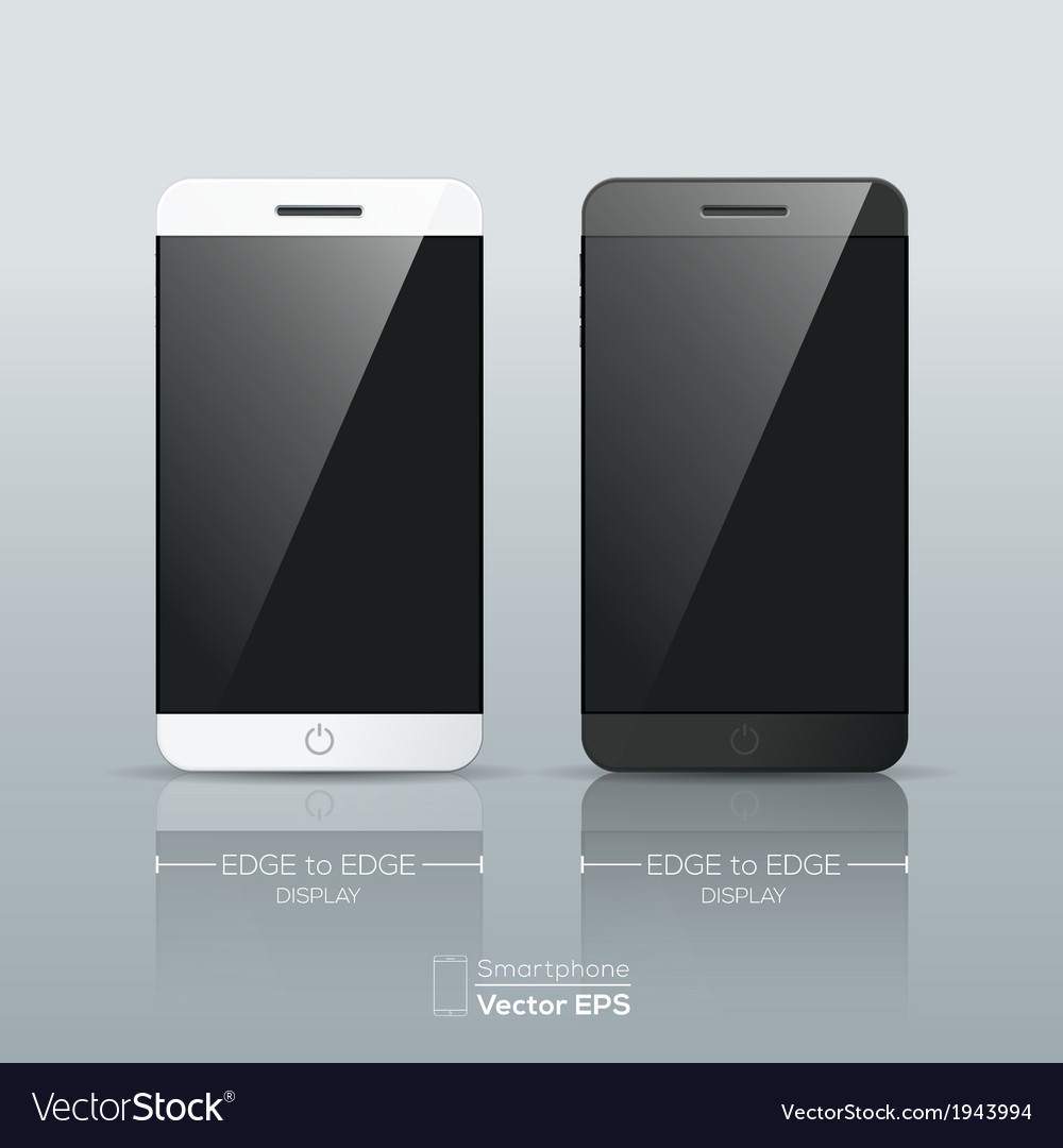 Black and white smart phone isolated vector | Price: 1 Credit (USD $1)