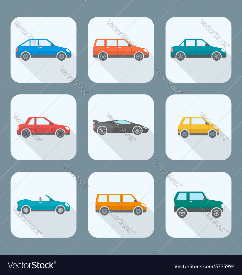 Colored flat style various body types of cars vector | Price: 1 Credit (USD $1)
