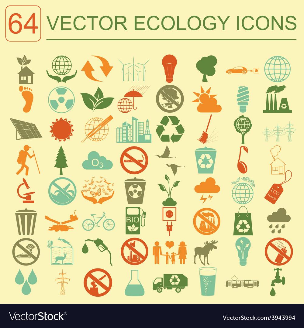 Environment ecology icon set environmental risks vector | Price: 1 Credit (USD $1)