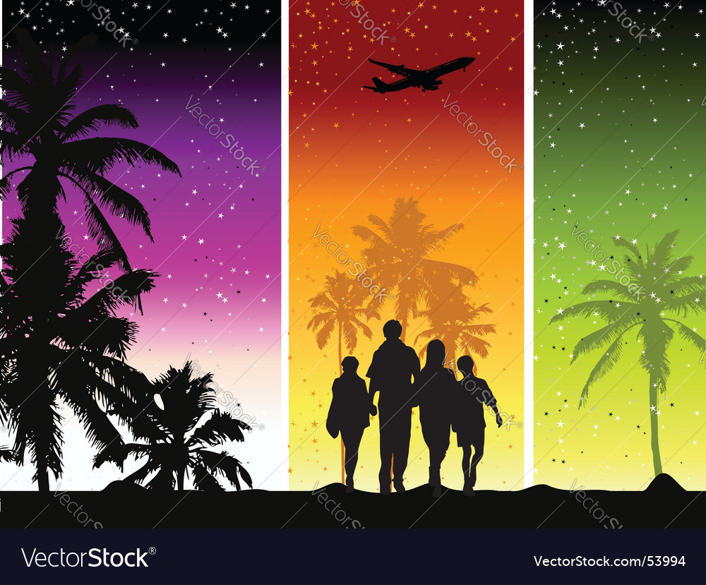 Family summer holiday vector | Price: 1 Credit (USD $1)