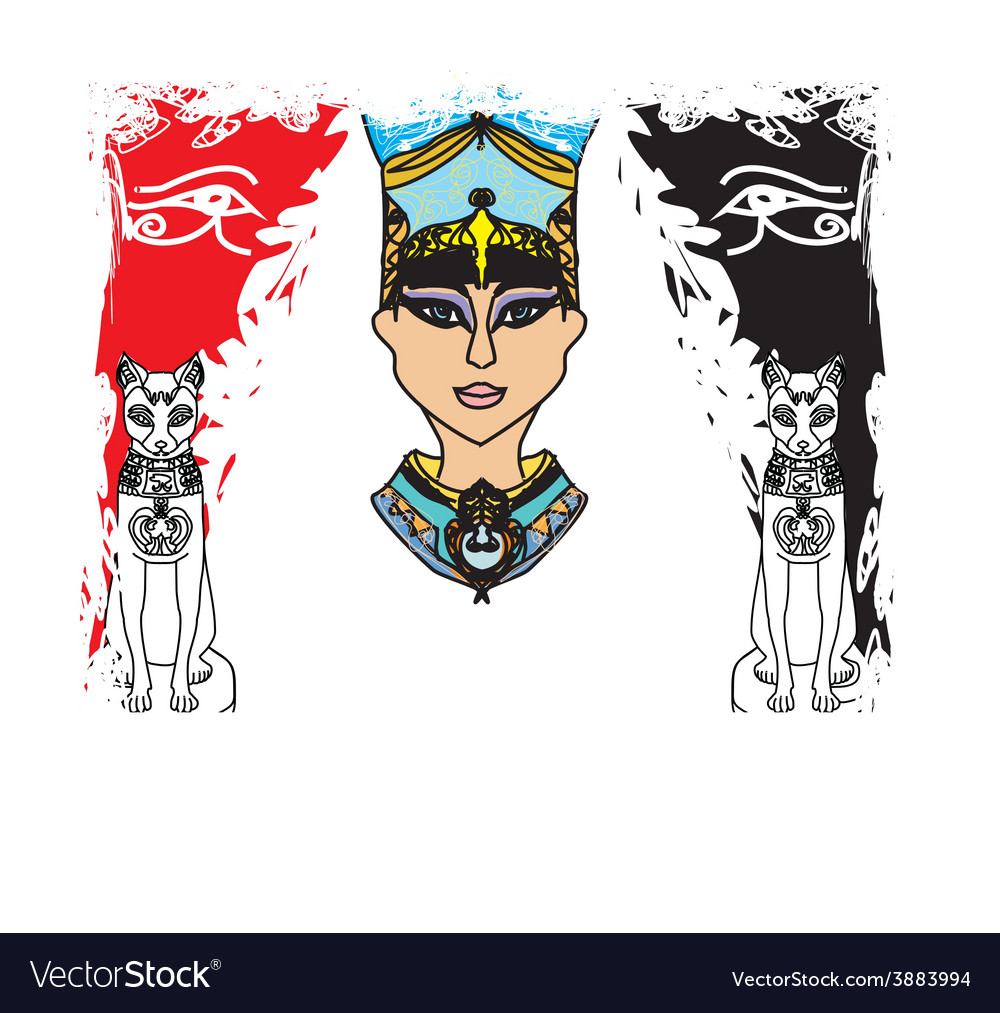 Grunge frame with egyptian queen vector   Price: 1 Credit (USD $1)