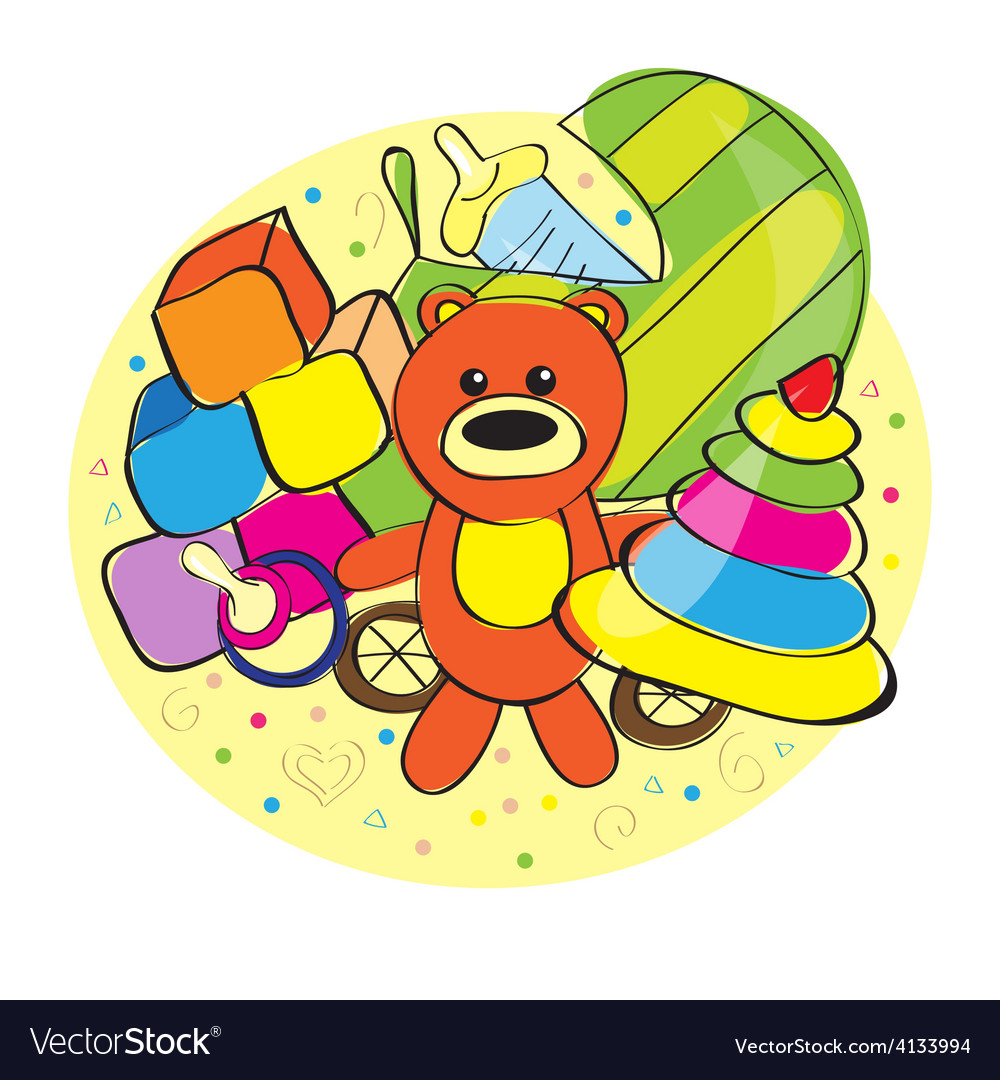 Hand drawn bear and other toys vector | Price: 1 Credit (USD $1)