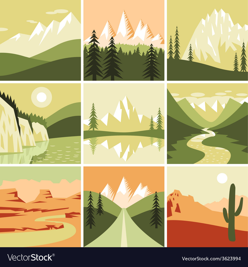 Nature mountain icons vector | Price: 1 Credit (USD $1)