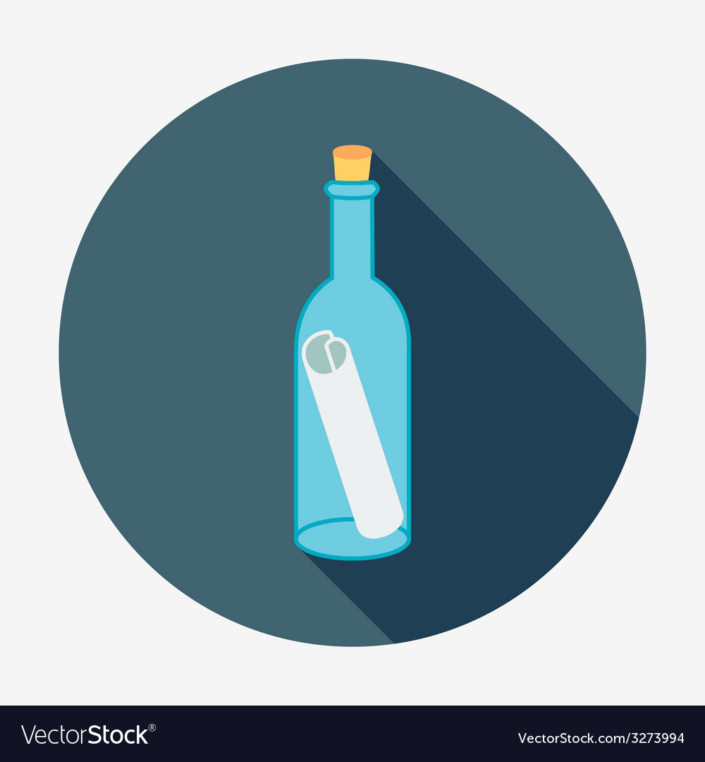 Pirate or sea icon bottle mail flat design style vector | Price: 1 Credit (USD $1)