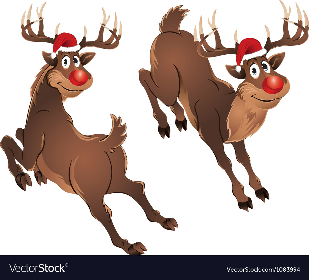 Rudolph the reindeer jumping vector | Price: 3 Credit (USD $3)