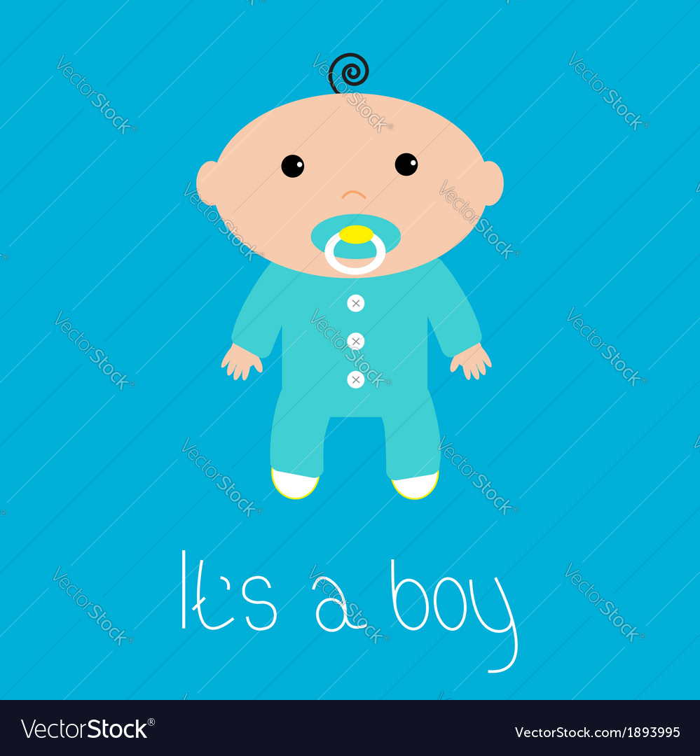 Baby shower card its a boy flat design style vector | Price: 1 Credit (USD $1)