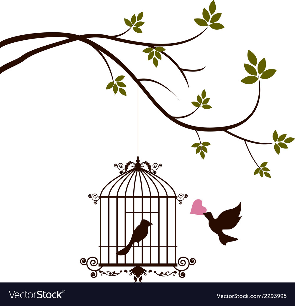 Bird are bringing love to the bird in the cage vector | Price: 1 Credit (USD $1)