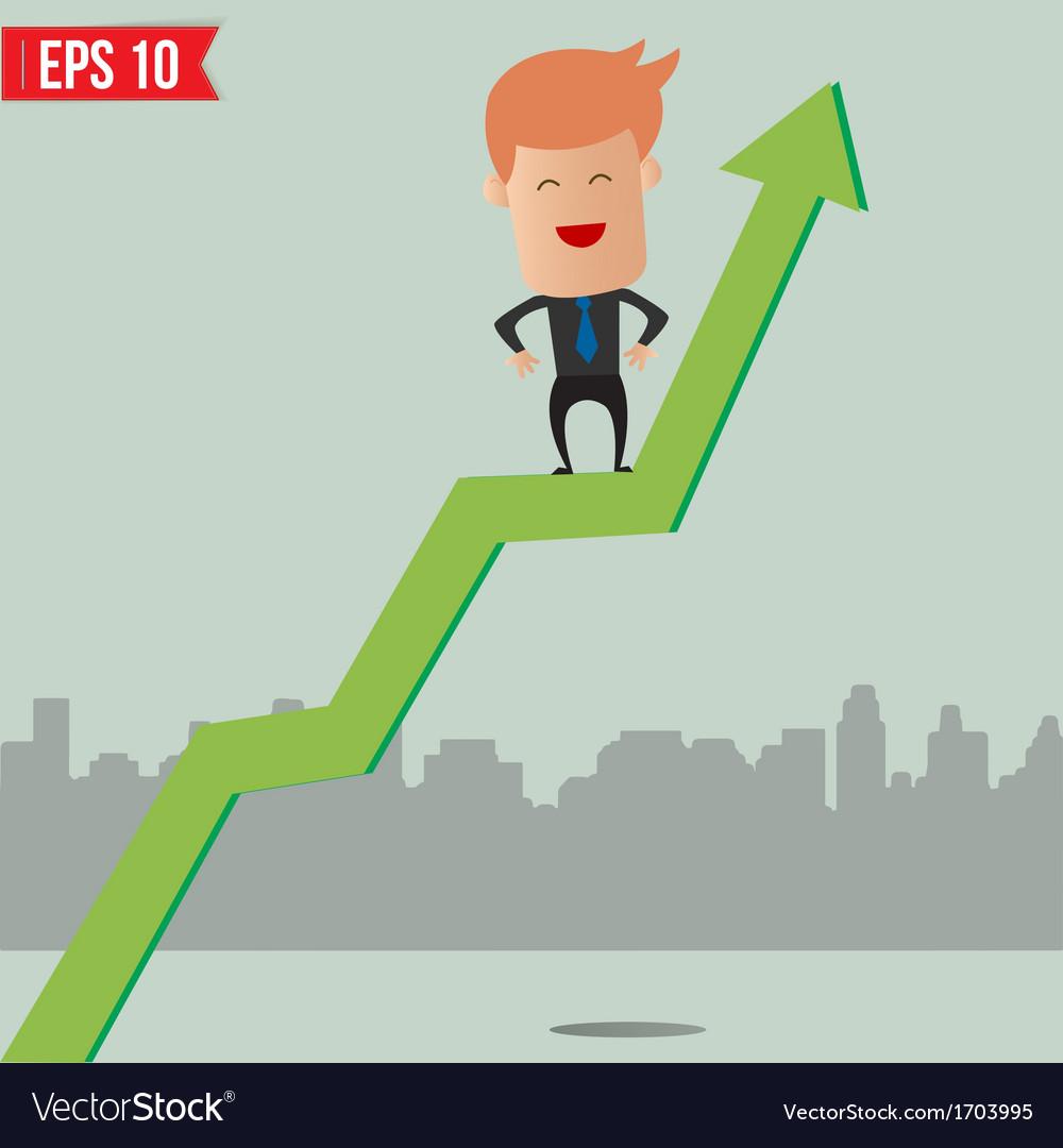 Cartoon businessman hanging on graph - - eps vector   Price: 1 Credit (USD $1)