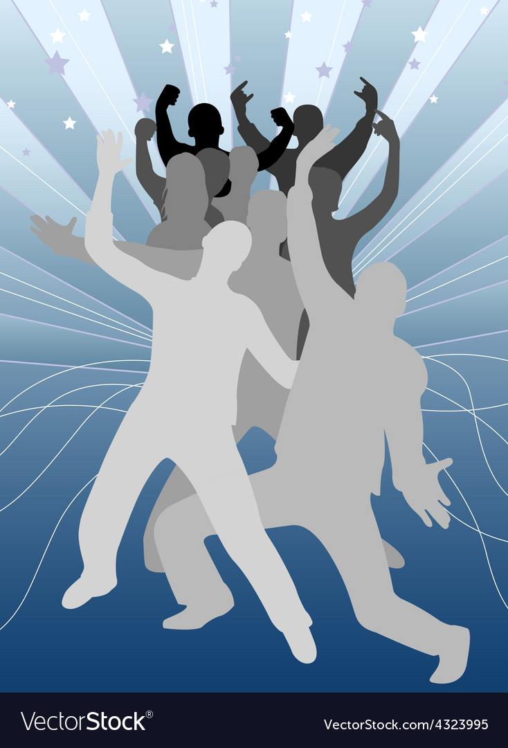 Group of young people at patry blue background vector | Price: 1 Credit (USD $1)