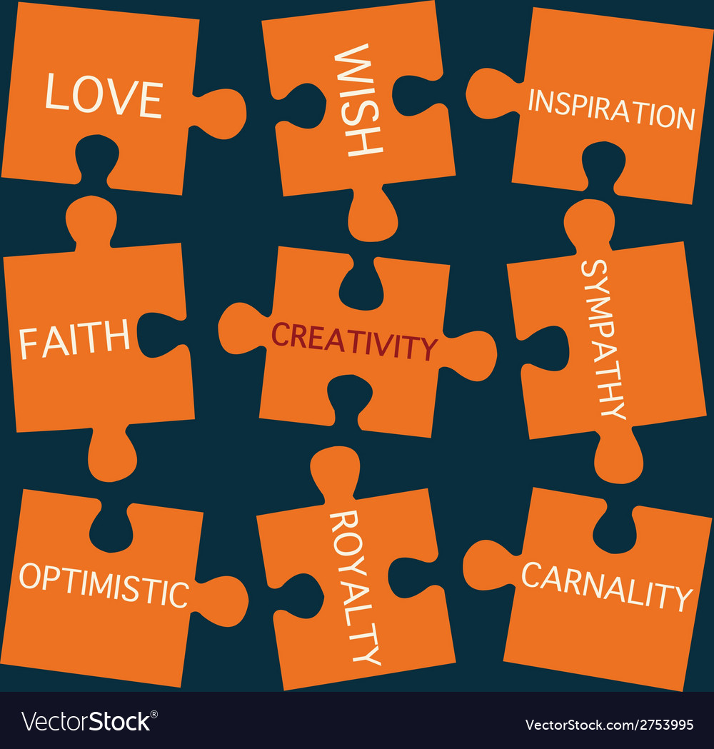 Jigsaw puzzle pieces with words on the topic of cr vector