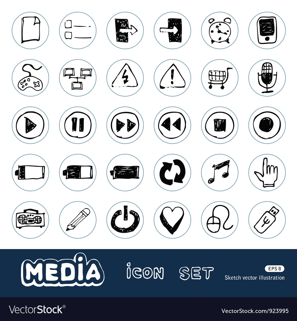 Media and communication web icons set vector | Price: 1 Credit (USD $1)