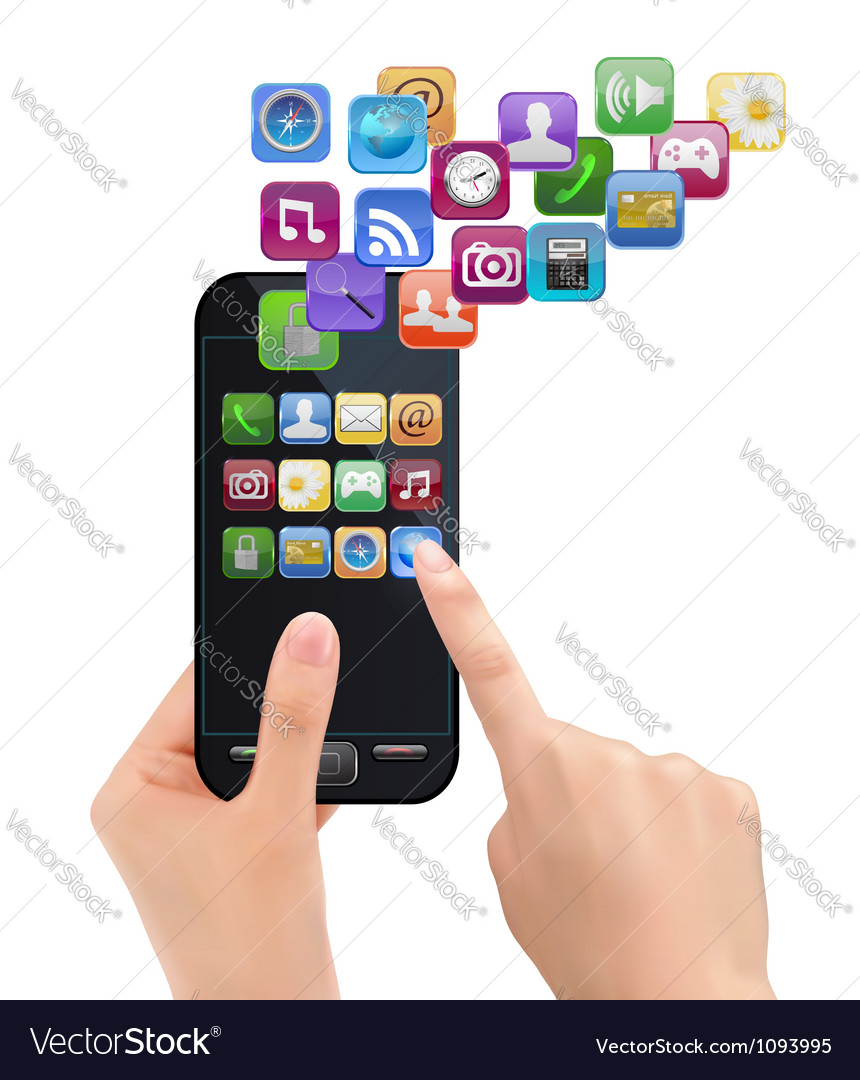 Mobile phone with icons vector | Price: 3 Credit (USD $3)