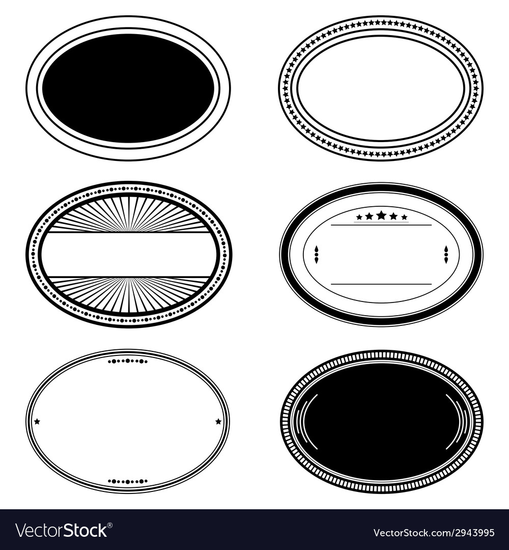 Oval stamp set vector | Price: 1 Credit (USD $1)