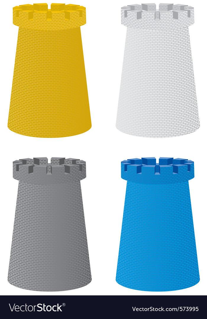Set of four color towers vector | Price: 1 Credit (USD $1)