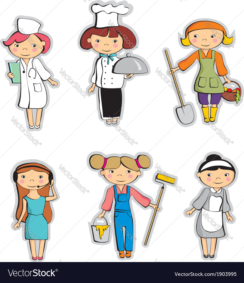 Set of professionals cartoon vector