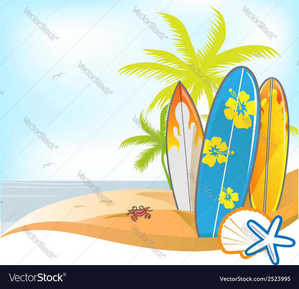 Summer background with surboard vector | Price: 1 Credit (USD $1)