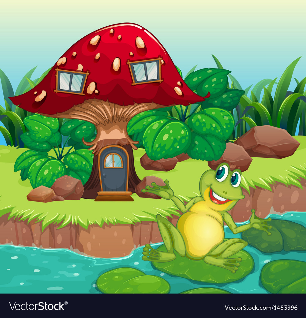 A frog and a mushroom house vector | Price: 1 Credit (USD $1)