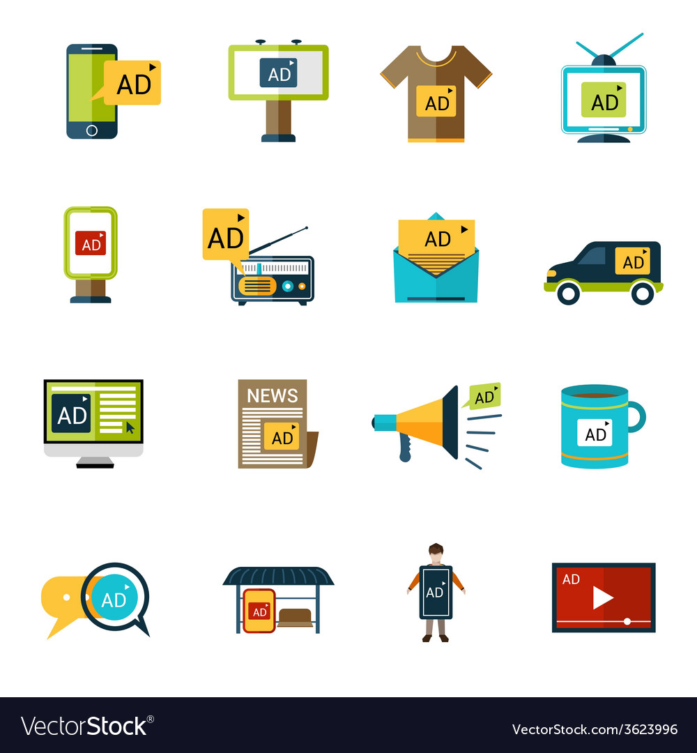 Advertising icons set vector | Price: 1 Credit (USD $1)