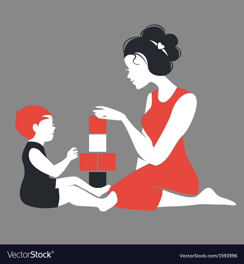 Beautiful silhouette of mother and baby playing vector | Price: 1 Credit (USD $1)