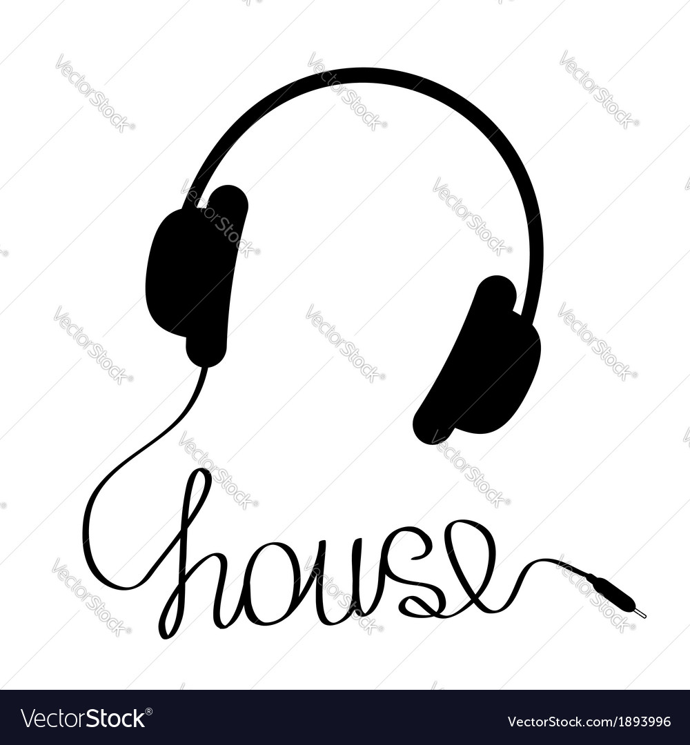 Black headphones with cord in shape of word house vector | Price: 1 Credit (USD $1)