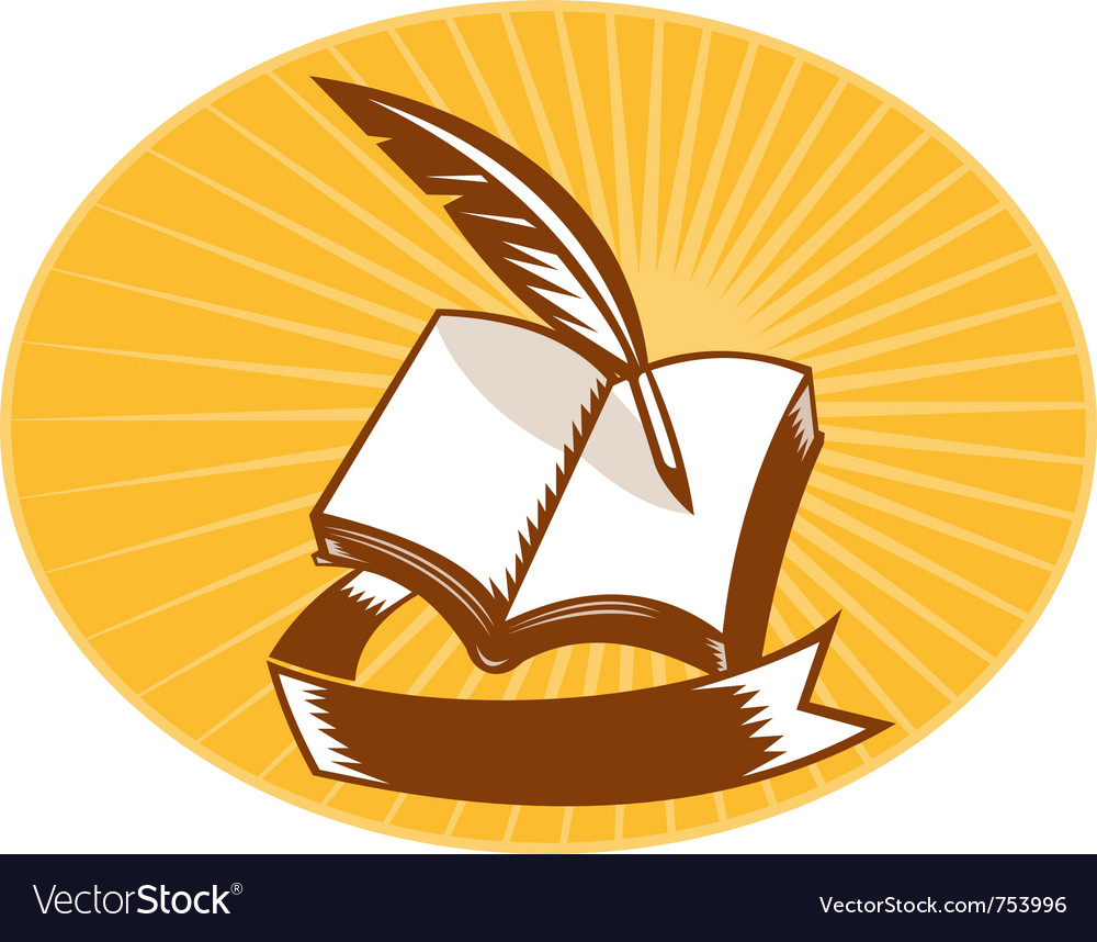 Book with quill pen and scroll vector | Price: 1 Credit (USD $1)