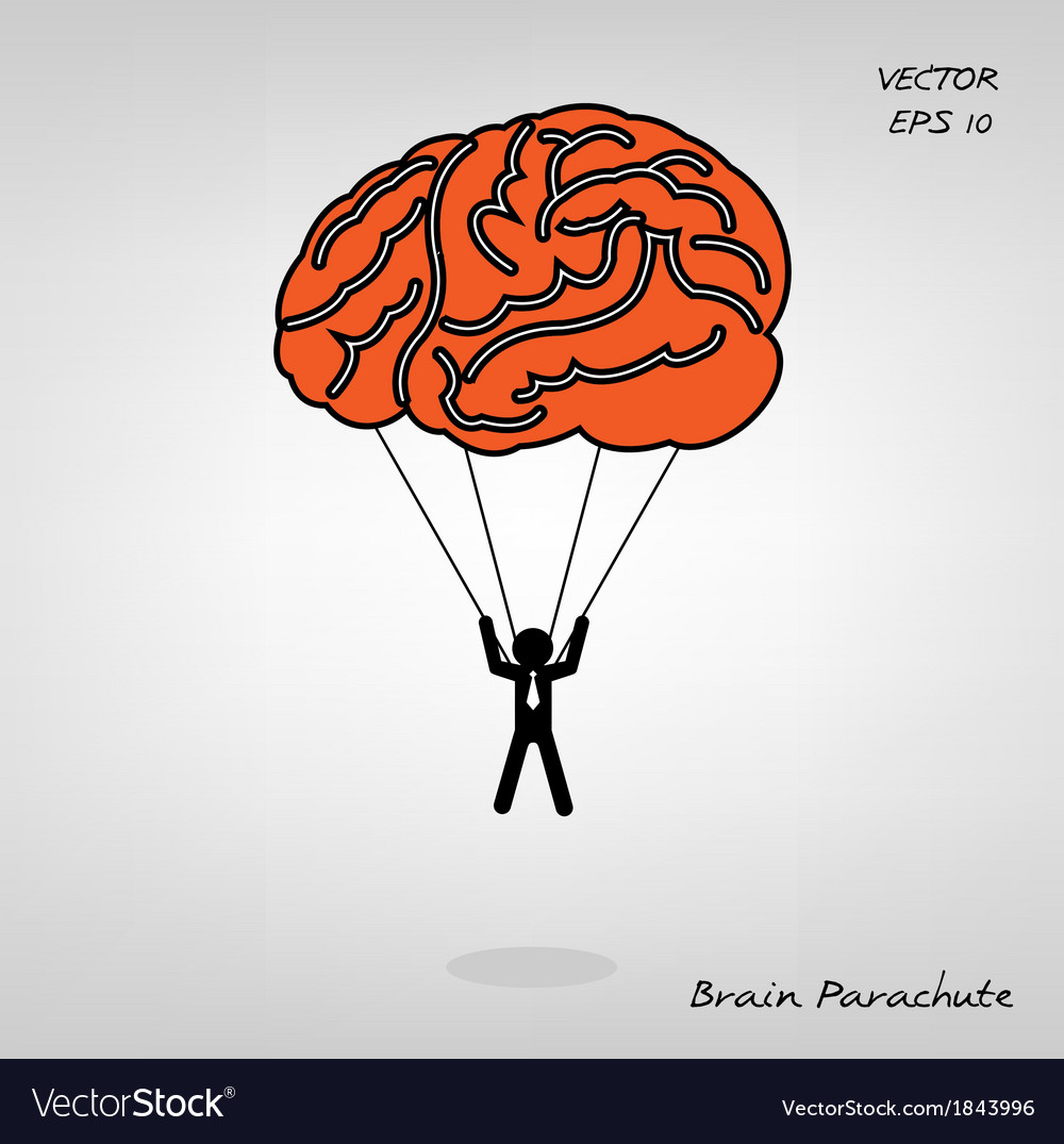 Brain parachute with businessman on background vector | Price: 1 Credit (USD $1)