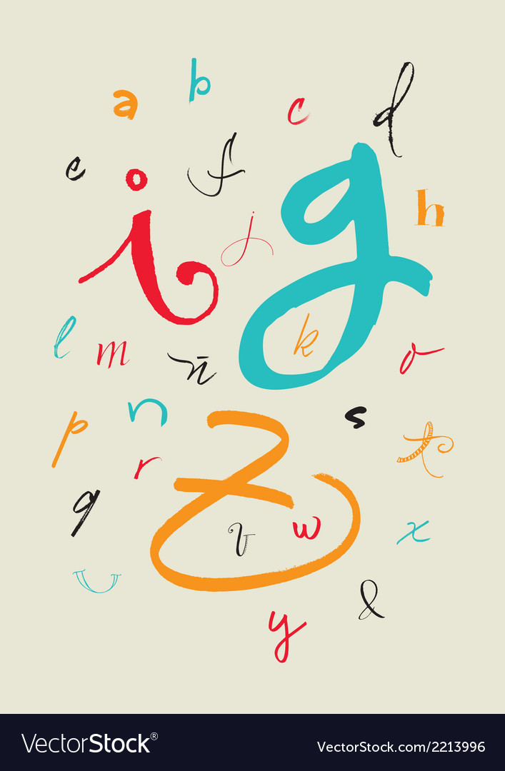 Calligraphic hand written lowercase alphabet vector | Price: 1 Credit (USD $1)