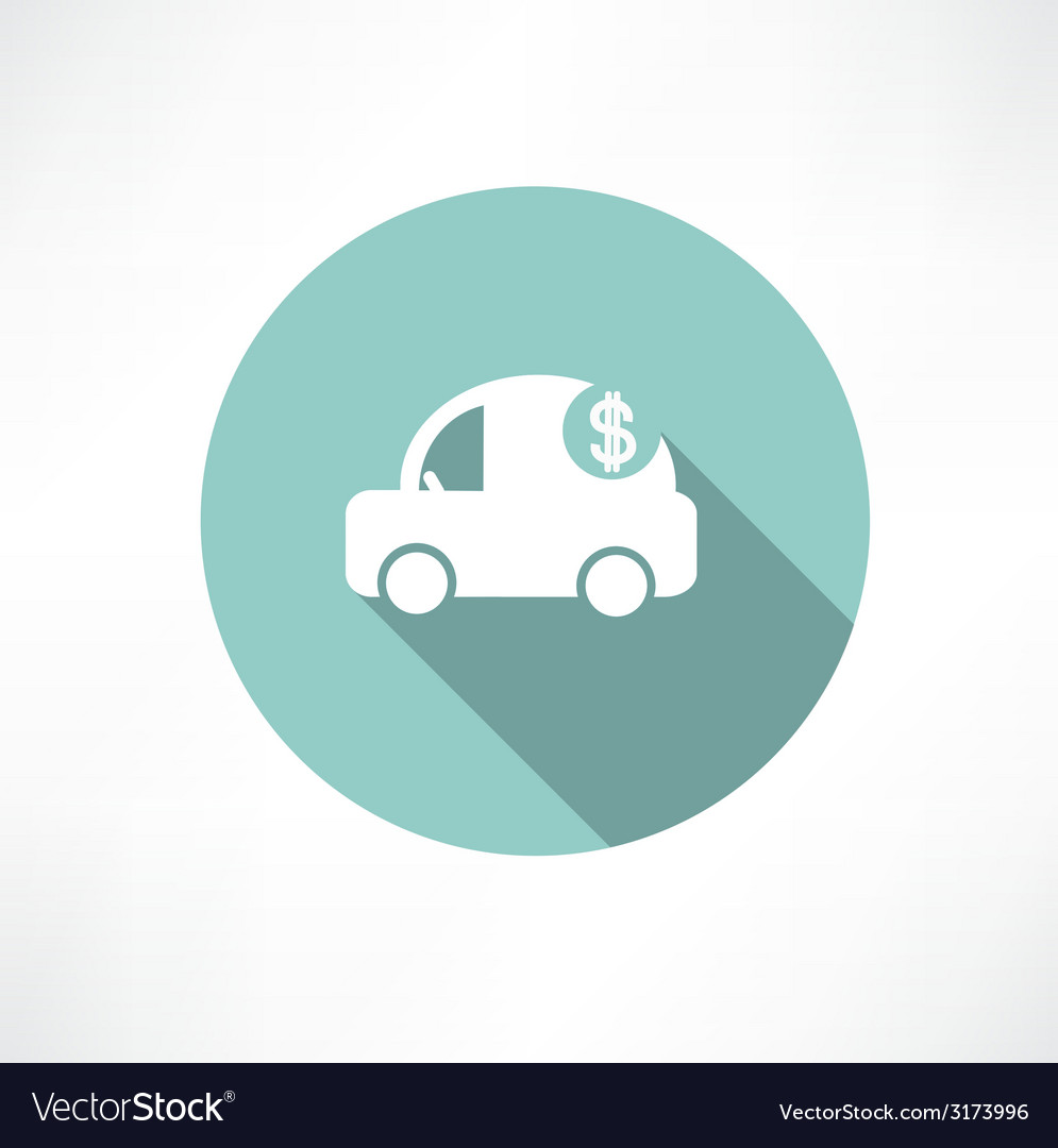Car icon with dollars vector | Price: 1 Credit (USD $1)