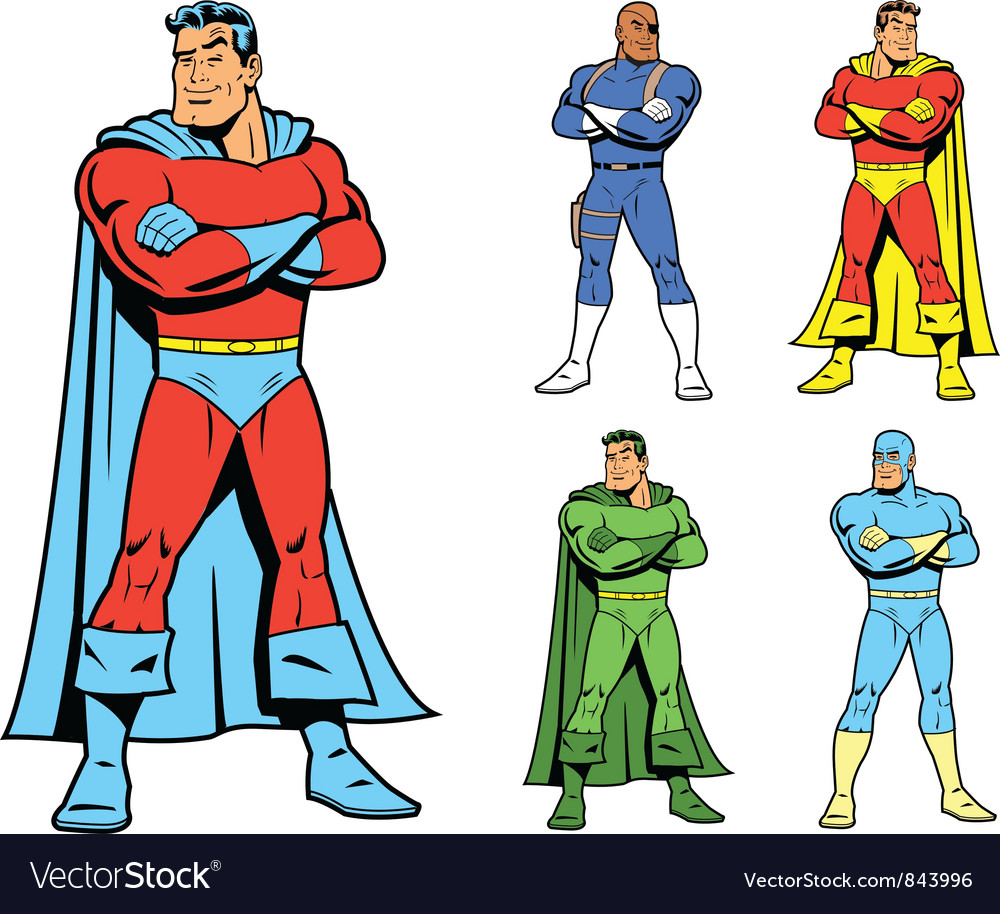 Classic superhero and cool variations image set vector | Price: 3 Credit (USD $3)