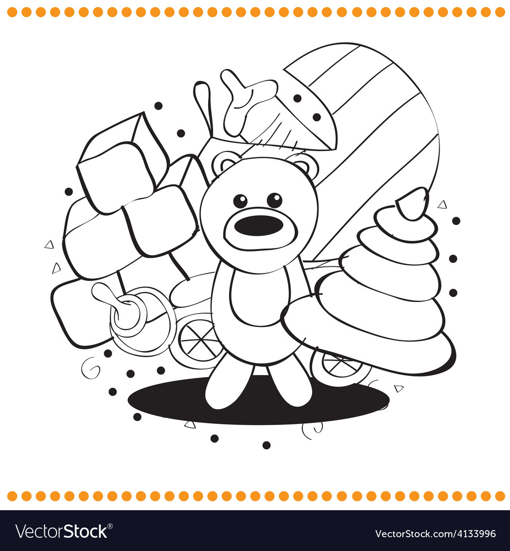 Coloring book toys vector | Price: 1 Credit (USD $1)