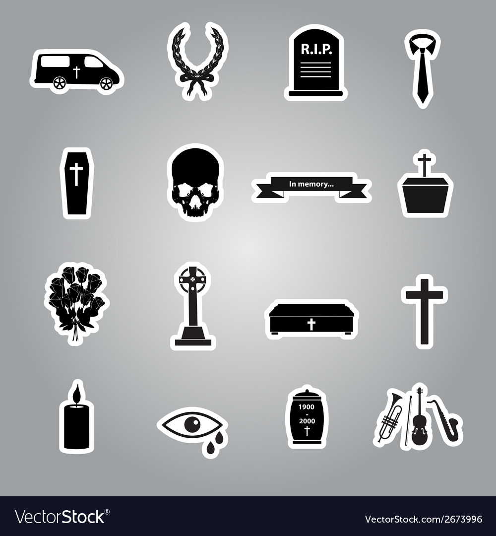 Funeral stickers set eps10 vector | Price: 1 Credit (USD $1)