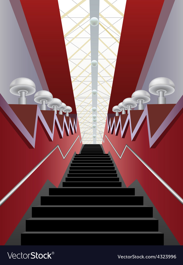 Red interior corridor with black stairs and lamps vector | Price: 1 Credit (USD $1)