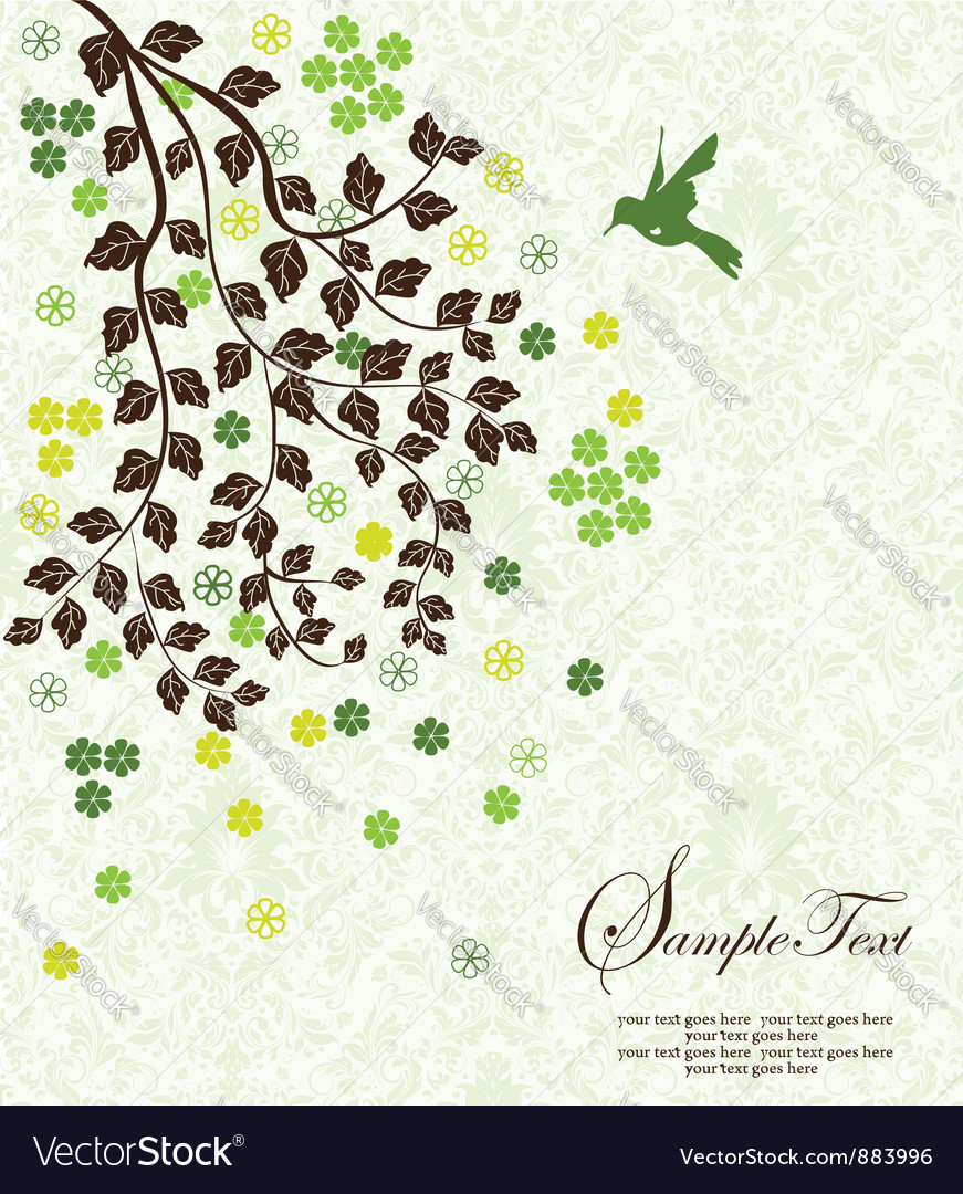 Tree branch with leafs and flowers vector | Price: 1 Credit (USD $1)