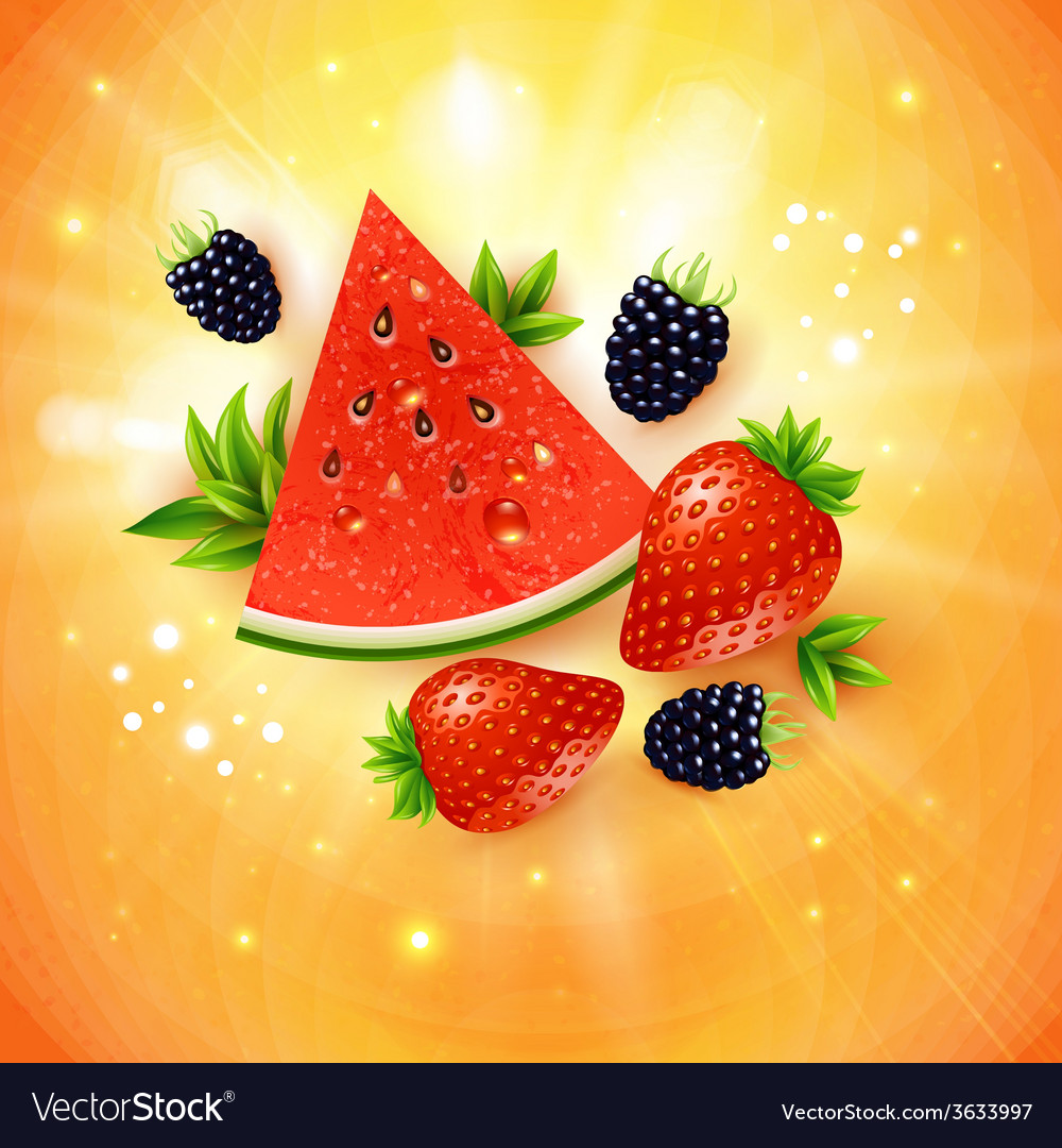 Abstract summer poster with watermelon strawberry vector | Price: 1 Credit (USD $1)