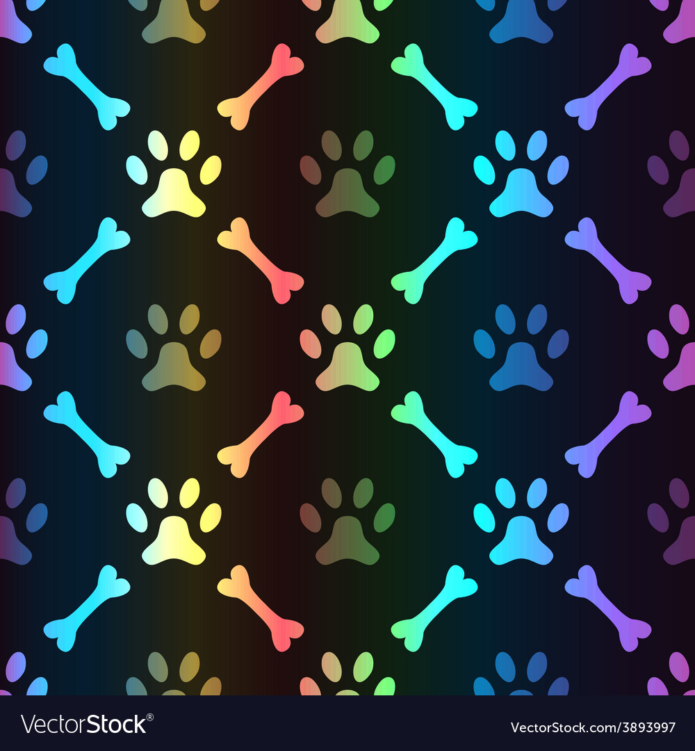 Animal spectrum seamless pattern of paw vector | Price: 1 Credit (USD $1)