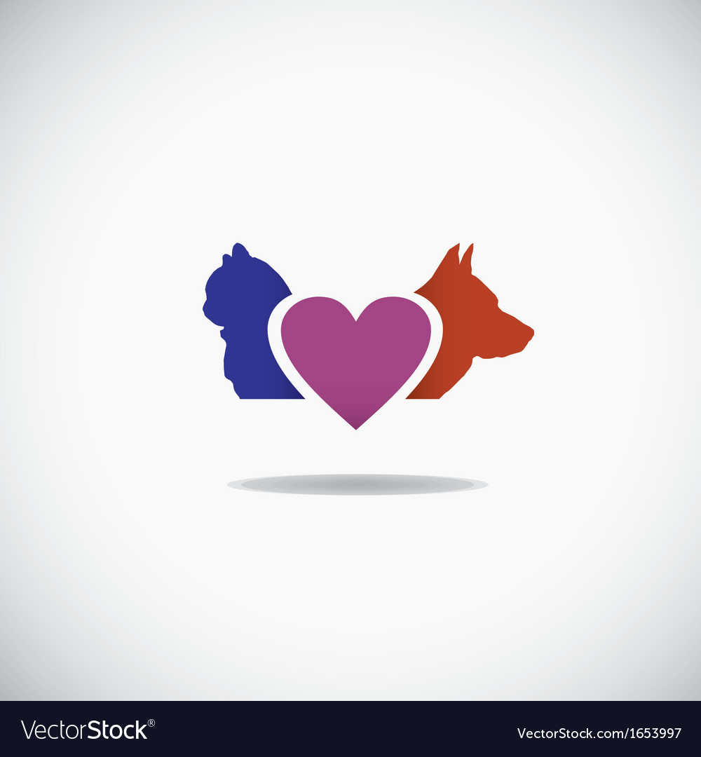 Background of a cat and a dog with a heart vector | Price: 1 Credit (USD $1)