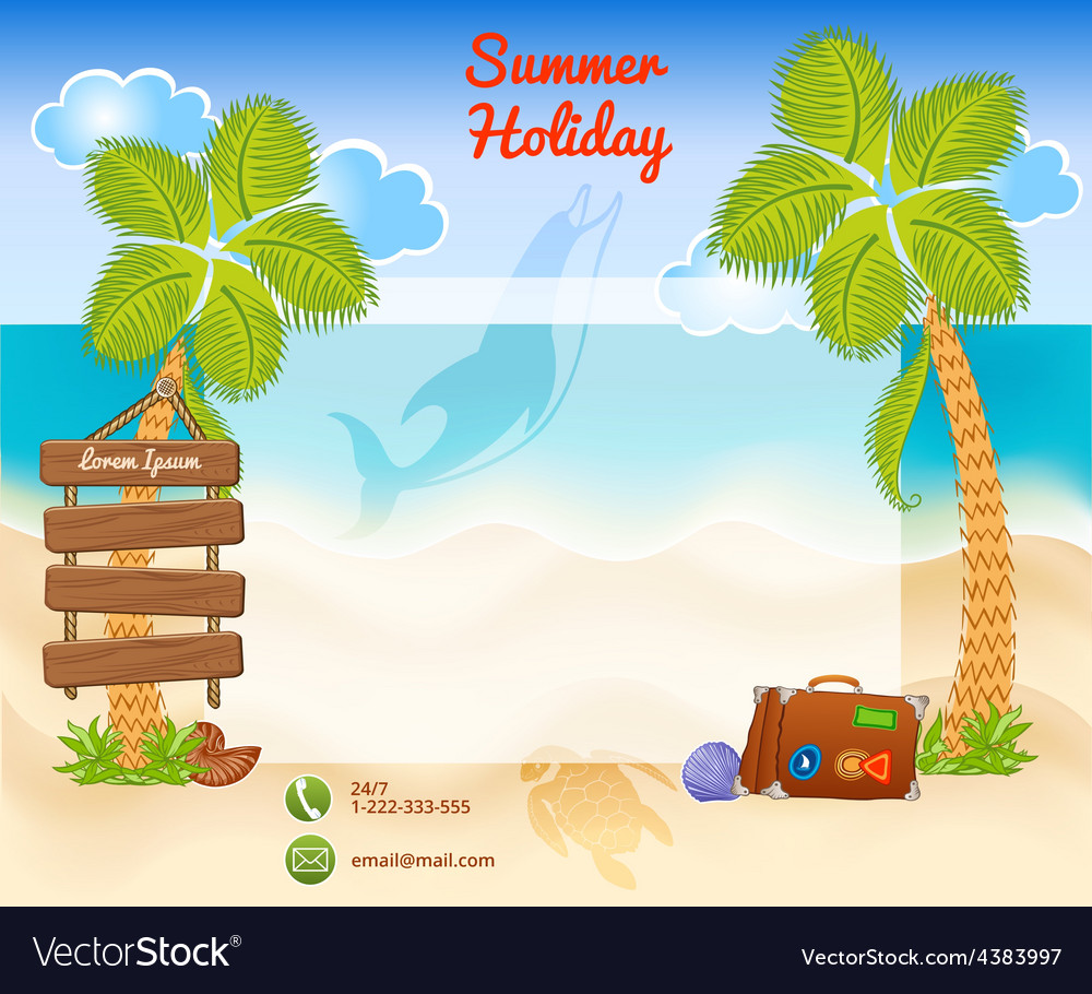 Beach background with palms vector | Price: 3 Credit (USD $3)