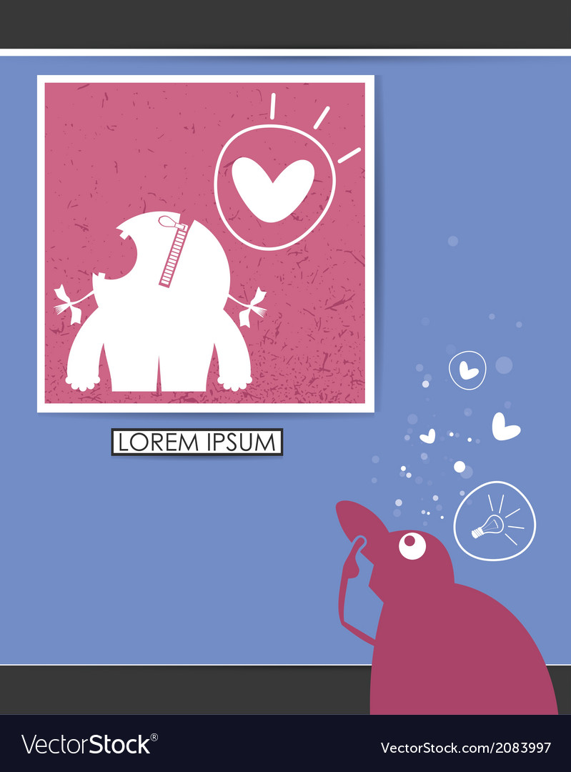 Character in museum with monsters in frame vector | Price: 1 Credit (USD $1)