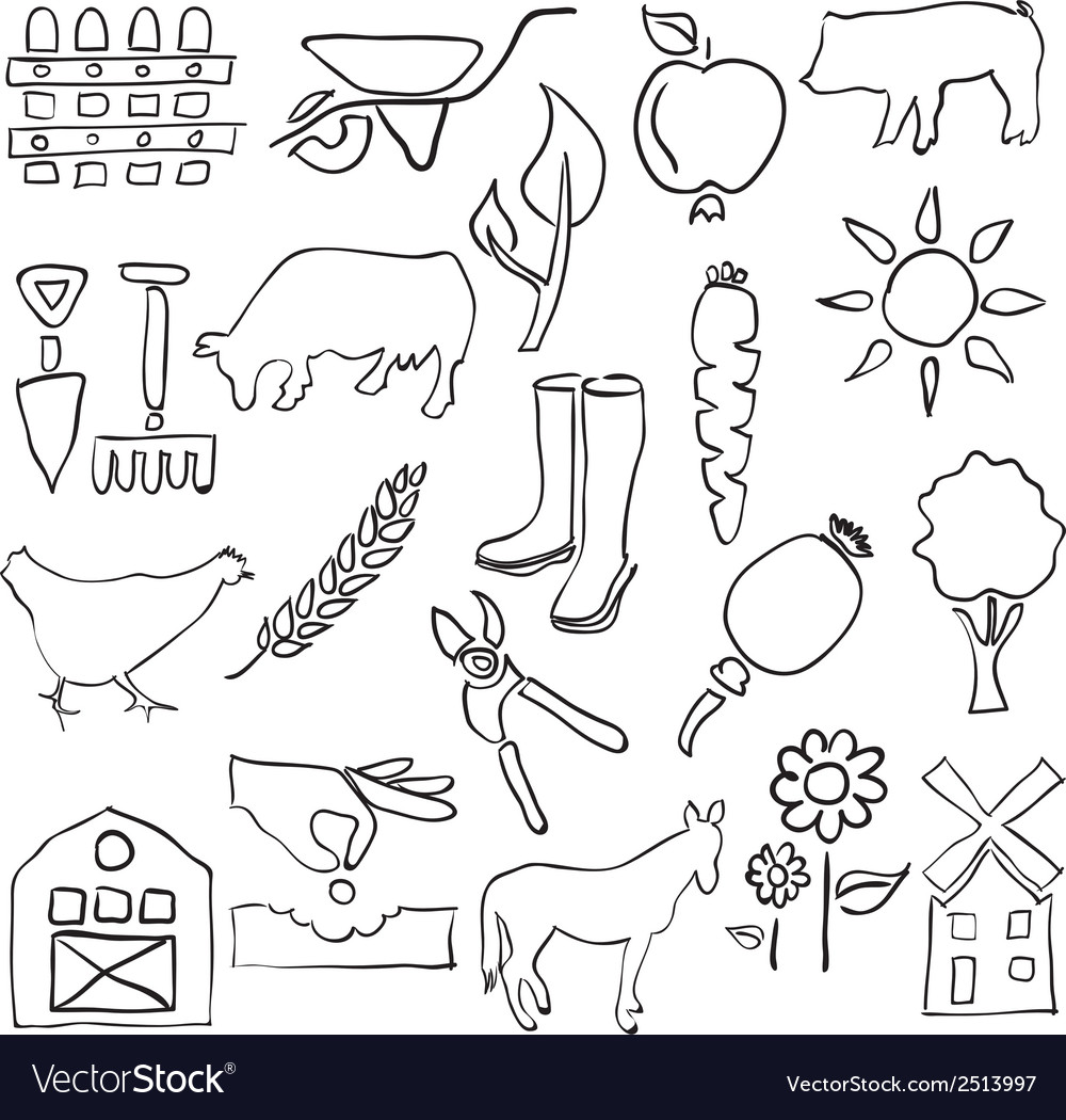 Farm sketch images vector | Price: 1 Credit (USD $1)