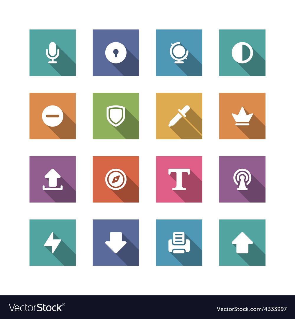 Flat icons set for design web sites and mobile vector | Price: 1 Credit (USD $1)