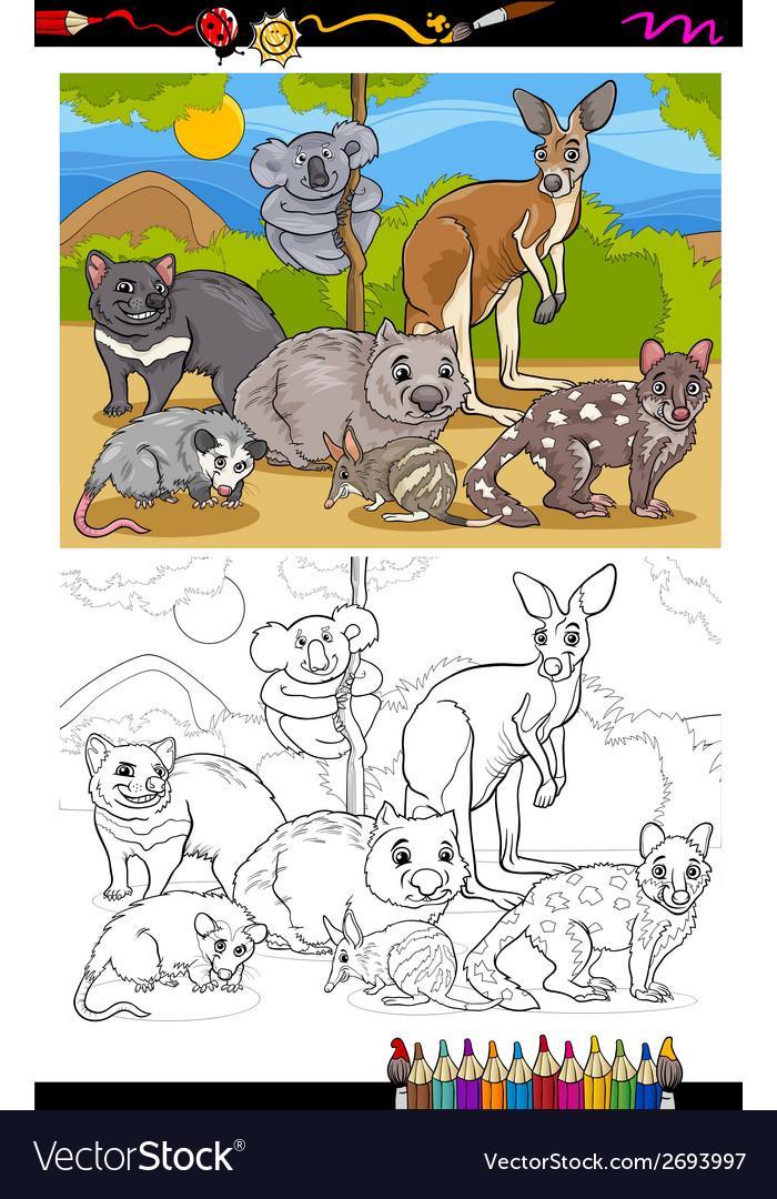 Marsupials animals cartoon coloring book vector | Price: 1 Credit (USD $1)