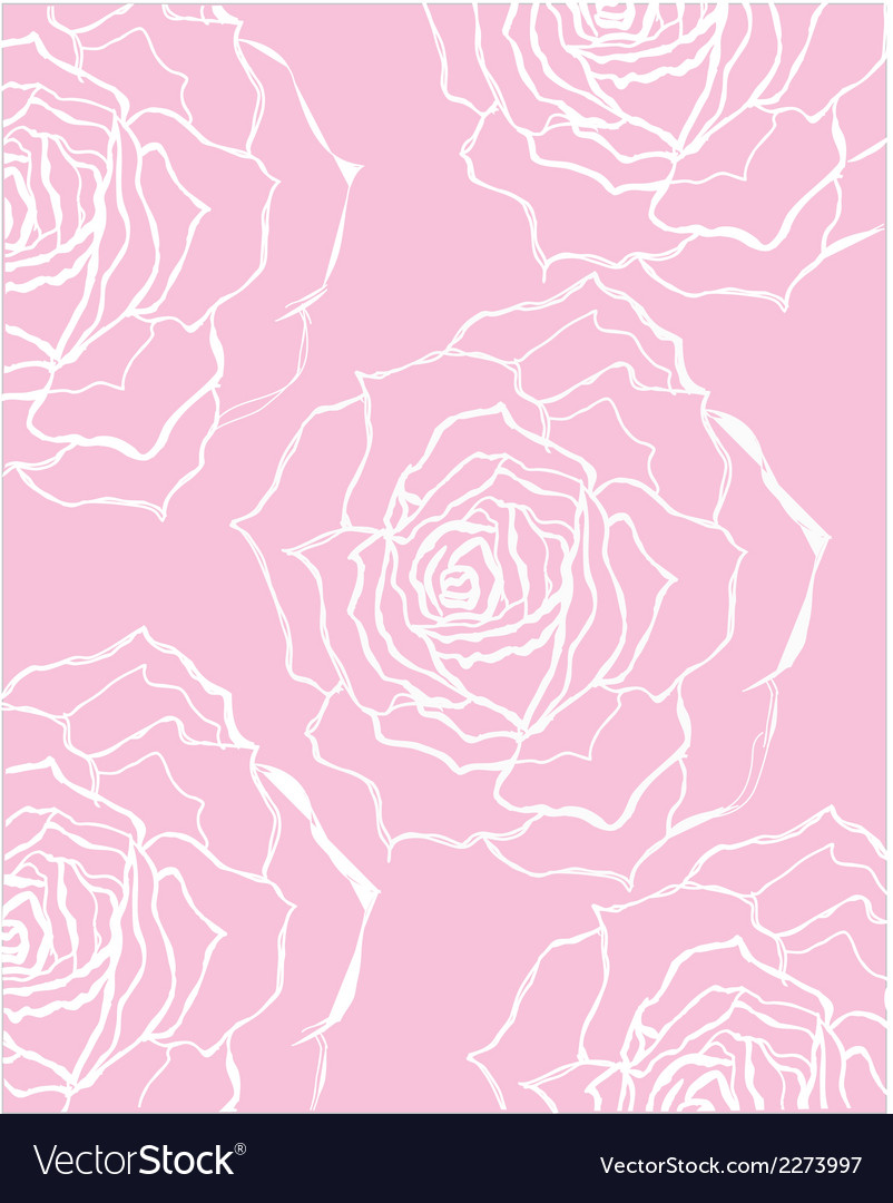 Pink and white rose pattern vector