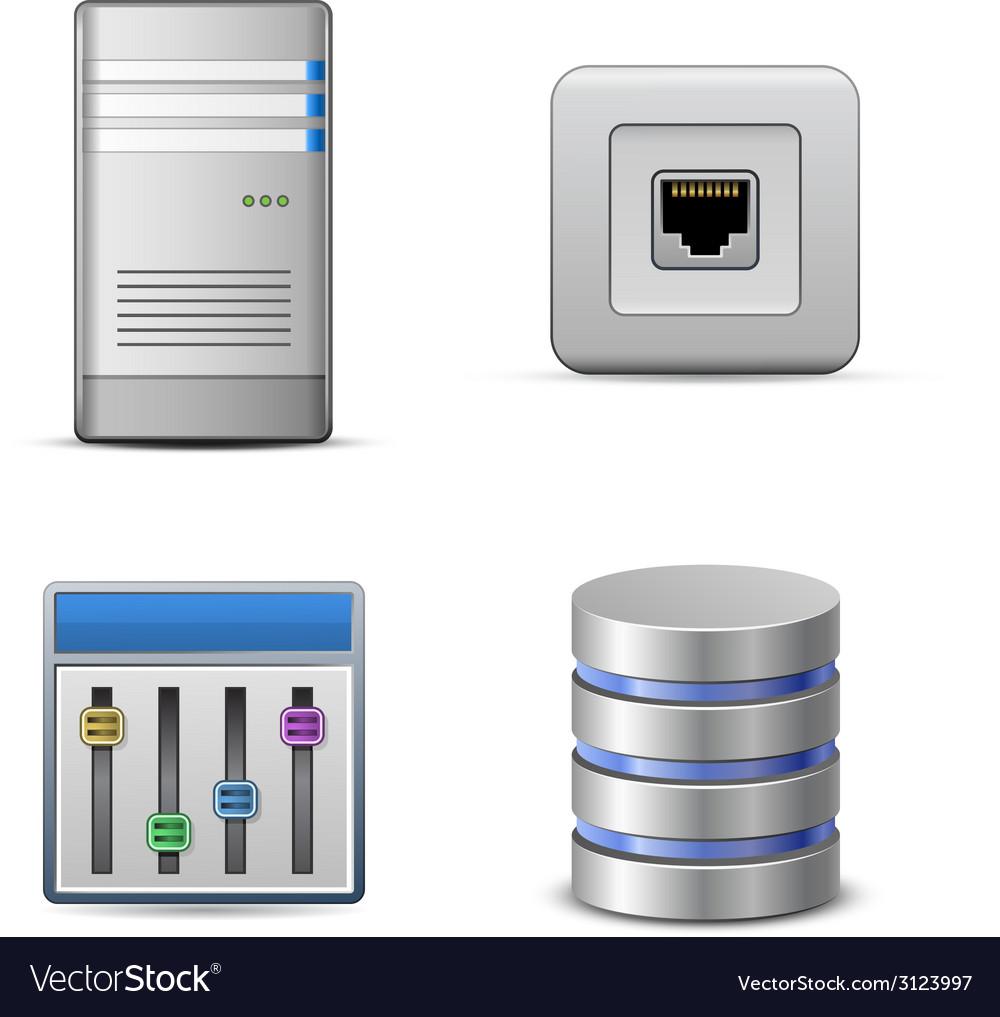 Server hosting icon vector | Price: 1 Credit (USD $1)