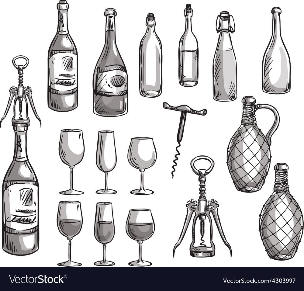 Set of wine bottles glasses and corkscrews vector | Price: 1 Credit (USD $1)